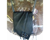Handmade Black Leather Pouch - Recycled Scraps - CrudeCo