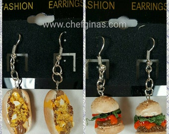 Chili Dog Hot Dog  Cheese Burger Earrings  - 1.5 in - pierced