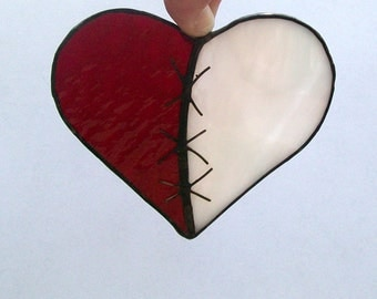 Broken heart mended heart stained glass suncatcher pink and red glass heart