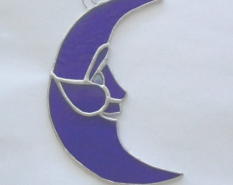 Blue moon laughing man in the moon stained glass suncatcher