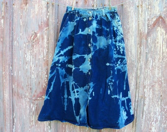 Vintage Size 10 Bleach Tie Dyed Long Denim Button Front Skirt Small 26 inch waist