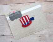 felt patriotic hat clippie uncle sam hat fourth of july hair clip hair barrette