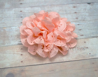 Peach Eyelet Lace Flower Hair Clip - Lace Flower -
