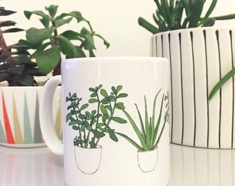 House plant illustrated mug - plant mug / plant print mug / white ceramic printed mug - aloe vera , spider , jade pot plants