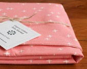 Organic Baby Blanket in WINK PINK; Pink with White Stars Modern Baby Blanket; Handmade Baby Shower Gift for a Girl; Made in Canada-Last One