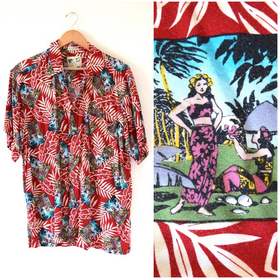SUMMER SALE / 20% off Vintage 80s 90s Tahitian Girls Red Hawaiian Print Short Sleeved Button Down Shirt (size large)