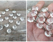 Vintage set of 5 glass faceted roundbeads garlands  pendants for chandelier