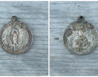 Vintage Antique old French 1930/30s  medal / silvered metal/timeworn /religious/ christianity