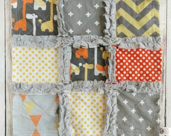 Giraffe Minky Lovey - Giraffe Mini Quilt - Yellow Orange Gray Lovey - Giraffe Lovey - Baby Boy Gift - Giraffe Baby Gift