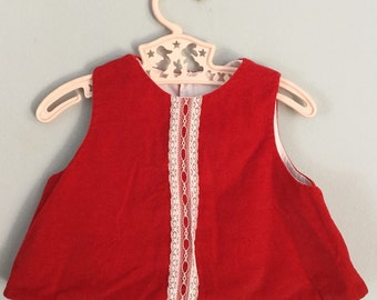 70s 80s Red Velvet Baby Dress Top with Matching Undergarments 6 months
