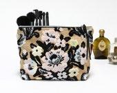 Vintage cut velvet floral zipper pouch - makeup bag