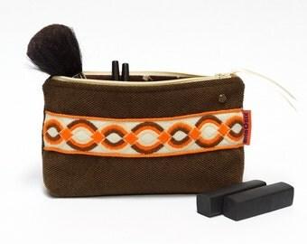 Brown Zipper Pouch - Vintage Ribbon Makeup bag