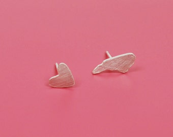 Asymetrical Tiny NC and Heart Stud Earrings--Recycled Silver