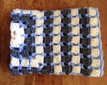 Baby Blanket, Chunky Hand Crochet, Stroller Carseat, Baby Boy, Baby Girl Baby Gift,  Photo Prop Gray Blue Cream
