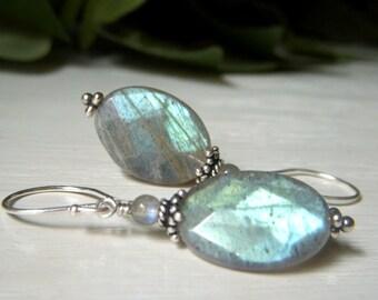Oval Labradorite Earrings Sterling Silver Gemstone Dangle, Oval Gemstone Earrings Faceted, Labradorite Jewelry, Fiery Blue Dangle Earrings