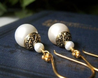 Bridal Pearl Earrings, White Pearl Gold Vermeil Earrings, Handmade Jewelry, Ivory Round Shell Pearl Dangle, Wedding Jewelry