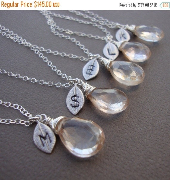 ON SALE Five (5) Stone Necklaces and Initial of your Choice - All Sterling Silver - Lovely Gift, Bridal Party, Hand Stamped Leaf by lizix26