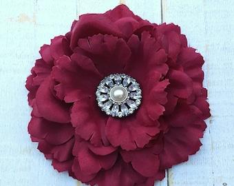 "Maroon Flower Clip 4.5"" Maroon Peony Hair Clip Rhinestone Flower Clip Wedding Bridesmaid Flower Girl Wine Hair Clip Bridal Sash Pin Brooch"
