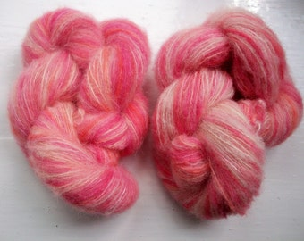 Hand painted yarn, fine brushed alpaca and silk, laceweight, soft rose pink, apricot, vanilla colours 50g by SpinningStreak