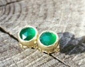 Emerald Green Onyx Gold Studs, Green Onyx Agate Post Earrings, May Color Birthstone, Rose cut gemstone,  Handcrafted by HelenesDreams