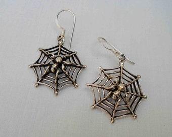 Vintage Nineties Sterling Silver Spider in Web Drop Earrings / On New Sterling French Hooks