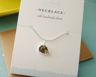 Tiny Hedgehog Charm Necklace : Stocking Stuffer, Gifts Under 10, Friendship Necklace