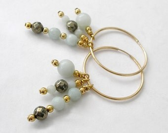 Three Dangle Hoop Earrings Modular Versatile Style Amazonite Pyrite 14k Gold Filled