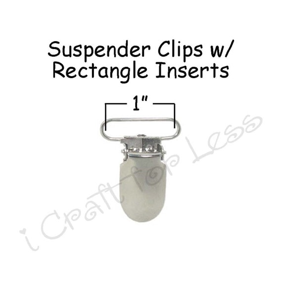 """10 Metal 1"""" Suspender Clips - w/ Rectangle Inserts - LEAD FREE - for Paci Pacifier Holder plus Instr"""