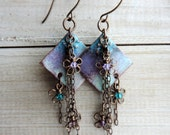 Peaceful Bohemian Blossom Glass Enamel Earrings, Swarovski Crystals, Vintaj Brass Aqua Turquoise Teal Purple Lilac