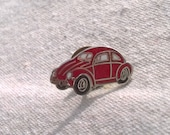 Reserved for J Vintage Volkswagon Pin, Red Bug, Red VW, Red Slug Bug, Red Volkswagon Beetle, Lapel pin, Tie tack, Enameled Pinback