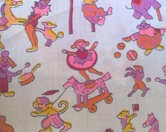 Klopman Burlington Mills 1971 Novelty Print Fabric, Circus Charactors, Nightie, Bloomers, Slip, Baby, Lil Girl, Quilting,Kawaii