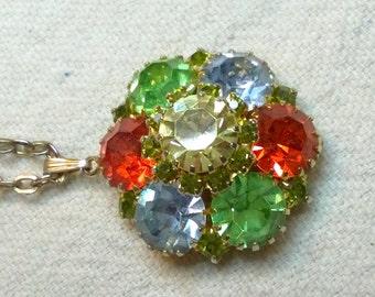 Rhinestone Pendant Necklace pretty standout colors