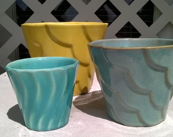 Vintage Pottery Planter Trio, 1940s Yellow, Turquoise and Aqua, Set of Three , Two matching, One Bauer