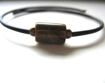 Ocean Jasper Bracelet, Jasper Stone Cuff Bracelet , Handmade Gemstone Bracelet