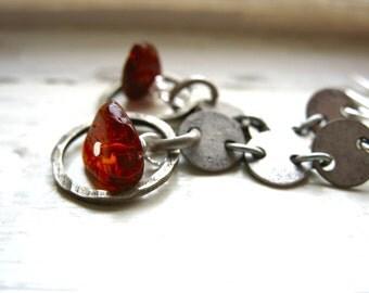 Amber Earrings, Baltic Amber Hoop Gemstone Earrings, Handmade Metalwork Stone Dangle Drop Earrings, Amber Jewelry, Baltic Amber Earrings