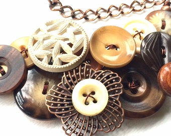 Woodland Necklace with Brown, Tan, Off-White Vintage Buttons and Copper Filigree Flower