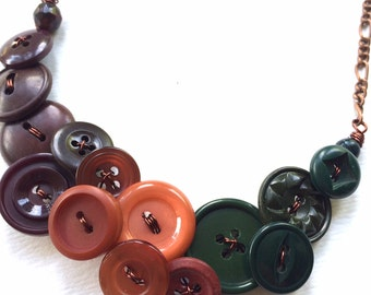 Christmas in July Sale Earth Tones Vintage Button Statement Necklace in Brown, Rusty Orange, and Deep Green