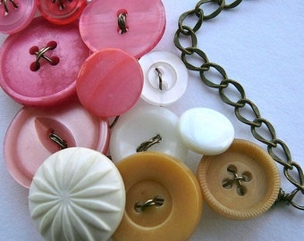 ON SALE Tan, White, and Coral Pink Large Vintage Button Statement Necklace