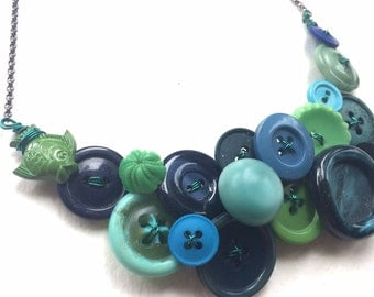 Under the Sea: Blue Teal Green Cool Colors Big Button Necklace