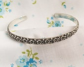 Romantic Sterling Silver Cuff Bracelet~Floral Pattern Solid Sterling Stack Bracelet~ Fashionable Gift For Her~Boho Gypsy Girl Style