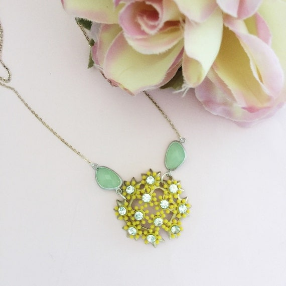 vintage yellow flower necklace assemblage repurposed necklace