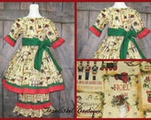 3 Pieces Christmas Outfit, Christmas Dress, Girl Christmas Dress, Vintage Style Girl Dress, Ruffle Pant, Red and Green Dress, Peasant Dress