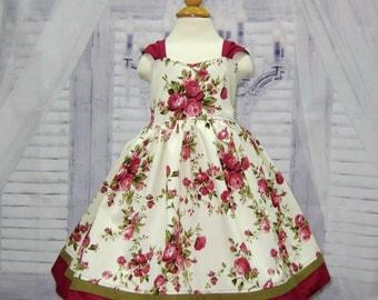 Burgundy Floral Girl Dress, Flower Girl Dress, Cream and Burgundy Dress, Vintage Style Girl Dress, Tea Time Girl Dress, Party Dress