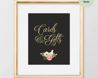 PRINTABLE Wedding Gift Table Sign // Cards and Gifts Sign // Art Deco Wedding // Gold Wedding Decor // Wedding Sign // Romantic Wedding