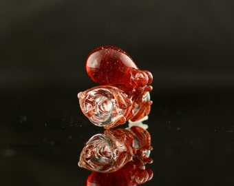 Octopus Dread Bead Hand Blown Full Color Glass in Clear & Red Blizzard, Ready to Ship #473