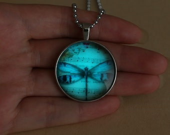 Aqua Blue Glow in Dark Music Notes, Daisies, & Dragonfly Pendant Necklace