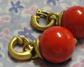 Mod Large Red Ball Dangle Clip Earrings