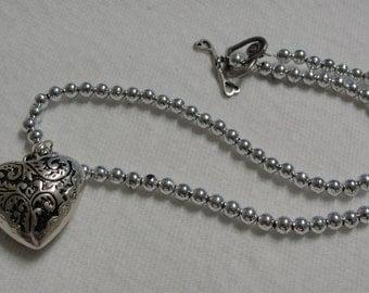 Acrylic Puffed Heart Beaded Necklace