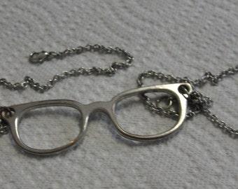 Nerdy Silver Tone Glasses Necklace
