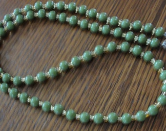 Olive Green Acrylic Yellow Seed Beaded 28 inch Necklace
